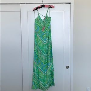 Lilly Pulitzer Green and Pink Maxi Dress, S